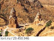 Купить «The medieval monastery of Noravank in Armenia. Was founded in 1205. Top view.», фото № 29450946, снято 23 сентября 2018 г. (c) Наталья Волкова / Фотобанк Лори