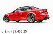 Купить «Super fast sports car color red metallic on a white background. Body shape sedan. Tuning is a version of an ordinary family car. 3d rendering.», иллюстрация № 29455254 (c) Владимир Хапаев / Фотобанк Лори
