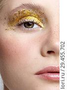 Купить «Closeup macro shot of human female face with yellow smoky eyes beauty makeup.», фото № 29455702, снято 25 сентября 2018 г. (c) Serg Zastavkin / Фотобанк Лори