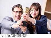 Купить «Concept of teamwork with prize», фото № 29458634, снято 24 ноября 2017 г. (c) Elnur / Фотобанк Лори