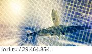 Купить «Airliner in motion in sky», фото № 29464854, снято 20 апреля 2017 г. (c) Яков Филимонов / Фотобанк Лори