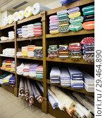 Купить «different fabric bolts exposed on shelves», фото № 29464890, снято 2 марта 2018 г. (c) Яков Филимонов / Фотобанк Лори