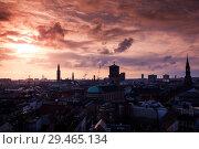 Купить «Silhouette skyline of Copenhagen, Denmark», фото № 29465134, снято 10 декабря 2017 г. (c) EugeneSergeev / Фотобанк Лори