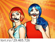 Купить «Females in red and blue wigs. Girls with false moustashes in hands», иллюстрация № 29465726 (c) Serg Zastavkin / Фотобанк Лори