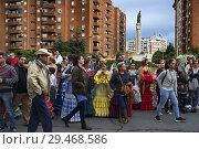 Купить «Romeria processionin Rocio in Huelva and Seville, Andalusia, Spain. Startet In the city center of Huelva.», фото № 29468586, снято 12 мая 2018 г. (c) age Fotostock / Фотобанк Лори