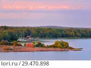 Pink sunset on Aland Islands. Finland (2018 год). Стоковое фото, фотограф Валерия Попова / Фотобанк Лори