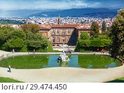 Купить «Boboli Gardens and Pitti Palace summer day in Florence», фото № 29474450, снято 9 мая 2014 г. (c) Наталья Волкова / Фотобанк Лори