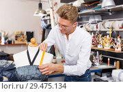 Купить «Tailor taking measurements of dummy», фото № 29475134, снято 20 октября 2018 г. (c) Яков Филимонов / Фотобанк Лори