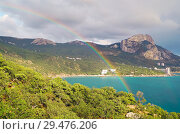 Купить «Beautiful rainbow over a Bay of Laspi . Crimea.», фото № 29476206, снято 11 сентября 2018 г. (c) Алексей Маринченко / Фотобанк Лори