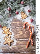 Купить «Christmas background on a wooden», фото № 29476678, снято 13 сентября 2017 г. (c) Типляшина Евгения / Фотобанк Лори