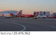 Aircraft are on the parking area of the airfield (2018 год). Редакционное видео, видеограф Андрей Радченко / Фотобанк Лори