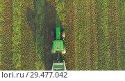 Купить «Tractor making hay bails. Flying above agriculture field.», видеоролик № 29477042, снято 17 сентября 2018 г. (c) Андрей Радченко / Фотобанк Лори