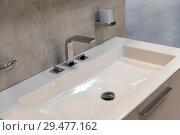 Fragment of bathroom with sink and faucet. Стоковое фото, фотограф Володина Ольга / Фотобанк Лори