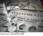 Купить «Investmments and asset allocation concept. Where to Invest? Newspaper and direction sign with investment options.», фото № 29478186, снято 26 марта 2019 г. (c) Maksym Yemelyanov / Фотобанк Лори