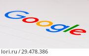 Купить «Лого поисковой системы Google на экране планшета крупным планом», фото № 29478386, снято 26 ноября 2018 г. (c) Екатерина Овсянникова / Фотобанк Лори