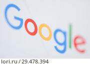 Купить «Логотип поисковой системы Google на экране планшета (крупный план)», фото № 29478394, снято 26 ноября 2018 г. (c) Екатерина Овсянникова / Фотобанк Лори