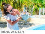 Купить «Tourist woman with sea turtle in the hands in exotic reserve», фото № 29478678, снято 10 апреля 2017 г. (c) Дмитрий Травников / Фотобанк Лори