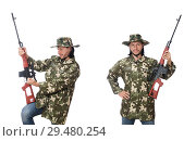 Купить «Soldier with weapons isolated on white», фото № 29480254, снято 8 января 2015 г. (c) Elnur / Фотобанк Лори