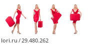 Blondie in red dress with suitcase isolated on white. Стоковое фото, фотограф Elnur / Фотобанк Лори