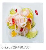 Купить «Top view of shrimp ceviche with lime, tangerine and hot pepper», фото № 29480730, снято 18 июля 2019 г. (c) Яков Филимонов / Фотобанк Лори