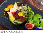 Купить «Salad of tuna with mango and avocado», фото № 29480818, снято 29 февраля 2020 г. (c) Яков Филимонов / Фотобанк Лори