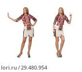 Купить «Pretty model in clothes with carpet prints isolated on white», фото № 29480954, снято 20 марта 2015 г. (c) Elnur / Фотобанк Лори
