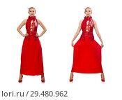 Купить «Blond hair model in dress with pomegranate isolated on white», фото № 29480962, снято 20 марта 2015 г. (c) Elnur / Фотобанк Лори