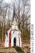 Купить «Chapel of Laska - The director of the local theatre Julius Laska had this chapel built in 1909 in memory of his mother.Neo-Gothic style - Marianske Lazne (Marienbad). Czech Republic», фото № 29485034, снято 1 февраля 2018 г. (c) Николай Коржов / Фотобанк Лори