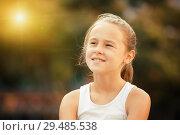Купить «Closeup happy little girl», фото № 29485538, снято 20 июля 2017 г. (c) Яков Филимонов / Фотобанк Лори