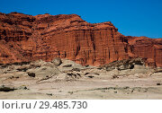 Купить «Mountains of red sandstone in Ischigualasto Park», фото № 29485730, снято 13 февраля 2017 г. (c) Яков Филимонов / Фотобанк Лори
