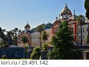 Купить «New Athos, Abkhazia - June 3. 2018. Orthodox Monastery in New Athos city», фото № 29491142, снято 3 июня 2018 г. (c) Володина Ольга / Фотобанк Лори