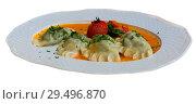 Delicious hot homemade dumplings with mashed potato and meat. Стоковое фото, фотограф Яков Филимонов / Фотобанк Лори