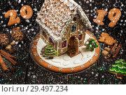 Купить «Gingerbread house with lights», фото № 29497234, снято 6 ноября 2016 г. (c) Jan Jack Russo Media / Фотобанк Лори