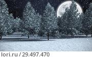 Купить «Winter scenery with full moon and falling snow», видеоролик № 29497470, снято 12 ноября 2019 г. (c) Wavebreak Media / Фотобанк Лори