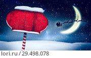 Купить «Video composition with snow over winter scene with red blank sign», видеоролик № 29498078, снято 14 декабря 2018 г. (c) Wavebreak Media / Фотобанк Лори