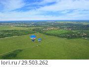 Вид с воздушного шара на окрестности Дмитрова. Стоковое фото, фотограф Дмитрий Воробьев / Фотобанк Лори