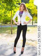 Купить «Young brunette in jacket», фото № 29503850, снято 25 сентября 2015 г. (c) Сергей Сухоруков / Фотобанк Лори
