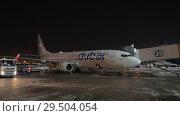 Купить «Flydubai aircraft with air bridge at Sheremetyevo Airport, Moscow», видеоролик № 29504054, снято 11 ноября 2017 г. (c) Данил Руденко / Фотобанк Лори