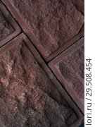 Купить «Close-up of joint of two red rustic bricks», фото № 29508454, снято 9 августа 2018 г. (c) Pavel Biryukov / Фотобанк Лори