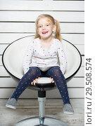 Купить «Little cheerful girl», фото № 29508574, снято 29 января 2016 г. (c) Сергей Сухоруков / Фотобанк Лори