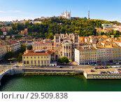 Купить «View from drone of Cathedral, Basilica and Saone, Lyon», фото № 29509838, снято 12 октября 2018 г. (c) Яков Филимонов / Фотобанк Лори