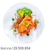 Купить «Top view of fried salmon with smoked julienne carrot, broccoli, cucumber, figs», фото № 29509854, снято 23 марта 2019 г. (c) Яков Филимонов / Фотобанк Лори