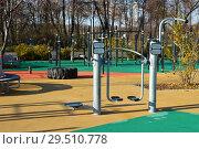 Купить «Суперсовременная площадка для воркаута в олимпийском комплексе «Лужники». Москва», эксклюзивное фото № 29510778, снято 6 ноября 2018 г. (c) lana1501 / Фотобанк Лори
