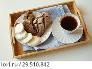 Купить «Breakfast with goat cheese and coffee», фото № 29510842, снято 1 ноября 2018 г. (c) Stockphoto / Фотобанк Лори