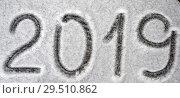 Купить «Text 2019 written on snow», фото № 29510862, снято 29 октября 2018 г. (c) Stockphoto / Фотобанк Лори