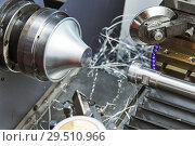 Купить «Sheet metal forming processes. spinning blank on cnc lathe machine», фото № 29510966, снято 16 мая 2018 г. (c) Дмитрий Калиновский / Фотобанк Лори