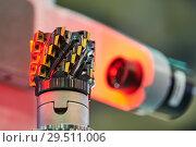 Купить «measuring machine for cutting tool inspection in metalwork», фото № 29511006, снято 24 октября 2018 г. (c) Дмитрий Калиновский / Фотобанк Лори