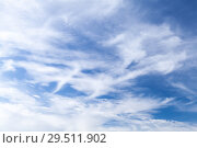 Купить «Blue sky at daytime with windy cirrus clouds», фото № 29511902, снято 30 октября 2018 г. (c) EugeneSergeev / Фотобанк Лори