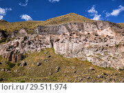 Купить «General view of ancient cave monastery Vardzia in Georgia», фото № 29511974, снято 25 сентября 2018 г. (c) Юлия Бабкина / Фотобанк Лори