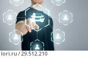 Купить «businessman with virtual hologram of car sharing», фото № 29512210, снято 21 марта 2013 г. (c) Syda Productions / Фотобанк Лори